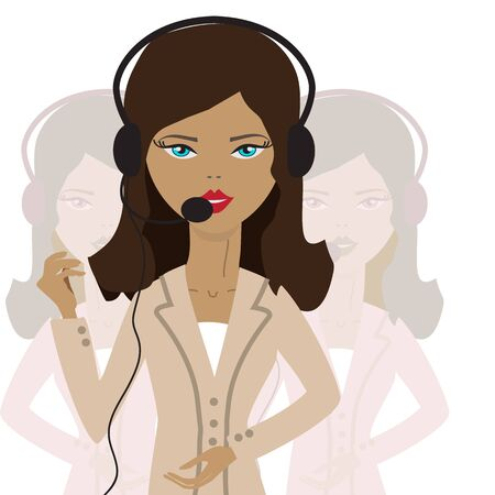 woman call center employee on a white background with other workers