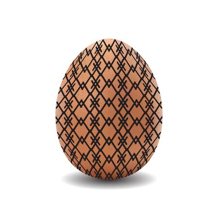 photorealistic: 3d isolated vector realistic brown easter egg with pattern on white background Illustration