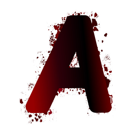 Dirty bloody letter A with spots. Grunge alphabet. Scary letters for Halloween Illustration