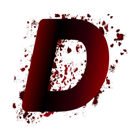 Dirty bloody letter D with spots. Grunge alphabet. Scary letters for Halloween