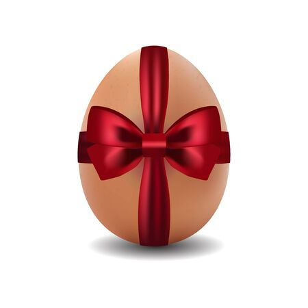 brown egg: 3d isolated vector image of brown easter egg. Easter egg decorated with red ribbon with bow Illustration