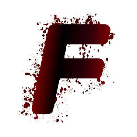Dirty bloody letter F with spots. Grunge alphabet. Scary letters for Halloween