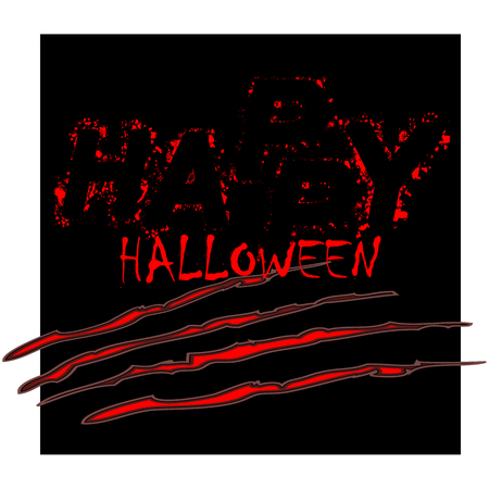 Dirty bloody scary grunge lettering Happy Halloween with spots on black background with scratches