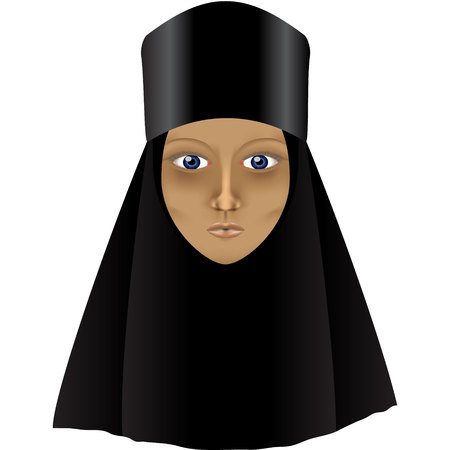 abbey: A sad fasting Orthodox nun Stock Photo
