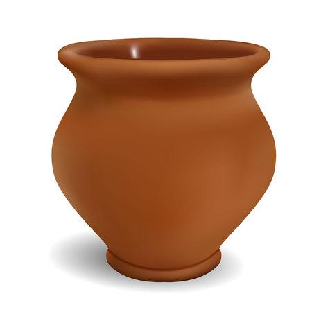 olla de barro 3d en un fondo blanco