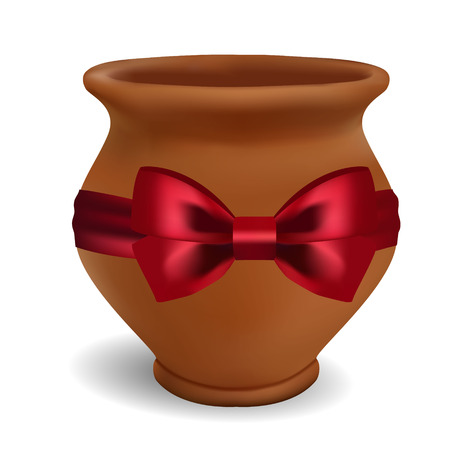 3d photorealistic clay pot on a white background with a red bow of satin.