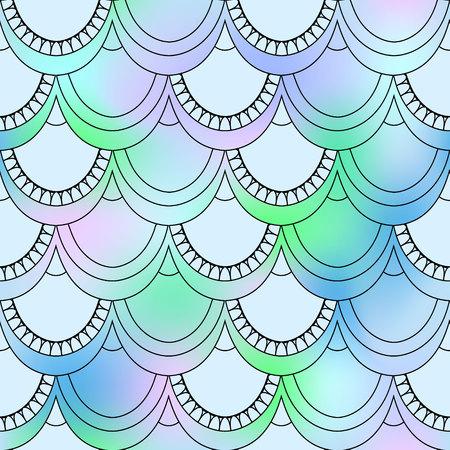 魚の鱗のシームレスなパターン。魚やカラフルな背景で人魚の青と透明なスケール。あなたのデザインの美しい鱗片背景