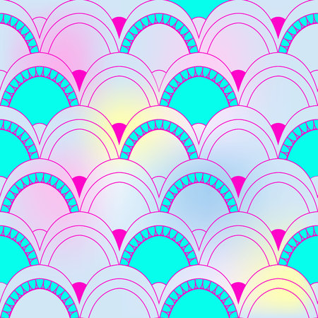 Seamless pattern of fish scales. Colorful universal fish and mermaid scales on rainbow background. Beautiful squama background for your design Illustration