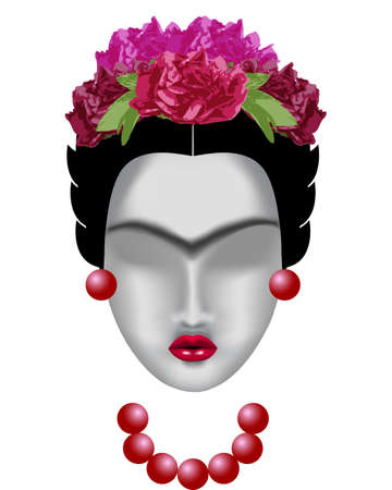 Interpretation of Frida Kahlo. Female face with a mono-eyebrow, with a wreath of flowers, with earrings and beads