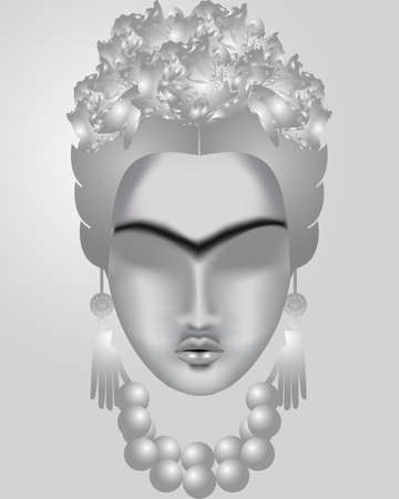 earrings: Interpretation of Frida Kahlo. Female face in silver tones with a mono-eyebrow, with a wreath of flowers, with earrings-hands and beads