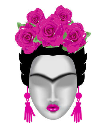 brow: Interpretation of Frida Kahlo. Female face with a mono-eyebrow, with a pink wreath of flowers and earrings-hands