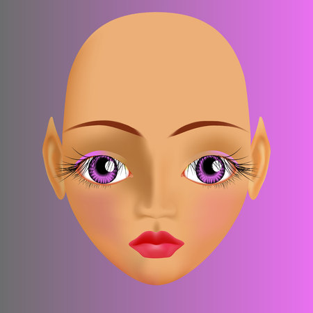 plump lips: Sunburnt elf with big violet eyes with long dark eyelashes and plump pink lips. Calm expression. Illustration