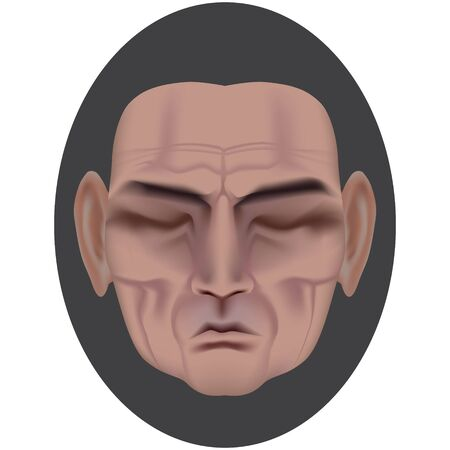 The face of a sleeping man with deep wrinkles. Frown expression. Wise old man. Made by gradient mesh