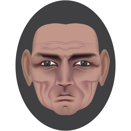 The face of an old man with deep wrinkles and a dimple on a bully. Frowning expression. Wise old man. Made by gradient mesh Illustration