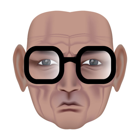The face of old man with deep wrinkles. Frown expression. Wise old man in black glasses. Made by gradient mesh Ilustrace