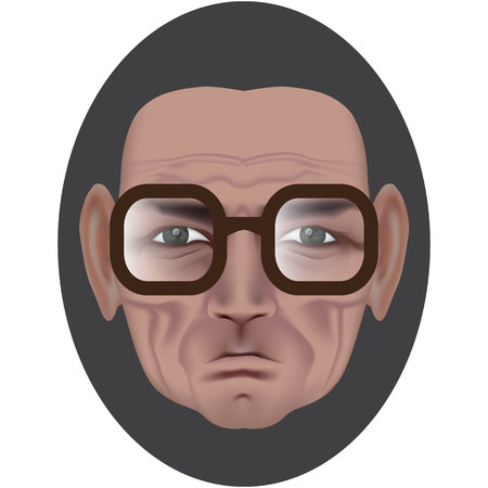 The face of an old man with deep wrinkles and a dimple on a bully. Frowning expression. Wise old man in dark brown glasses. Made by gradient mesh