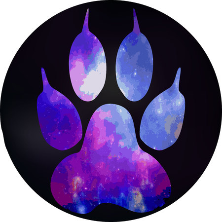 unexplored: A dogs footprint in a black circle. Paw with a space pattern. Illustration
