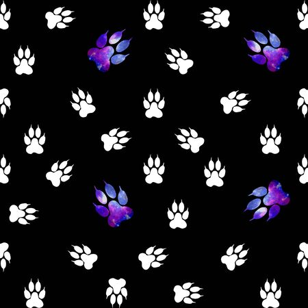 unexplored: Seamless pattern with white paws on a black background. Paw with a space pattern.