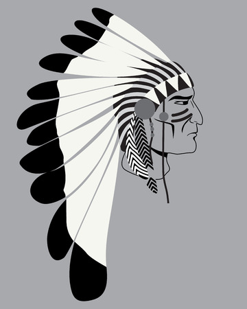 Man Native American Indian chief. Logo silhouette of an Injun chief in a national feather headdress  Native American tribal chiefs.