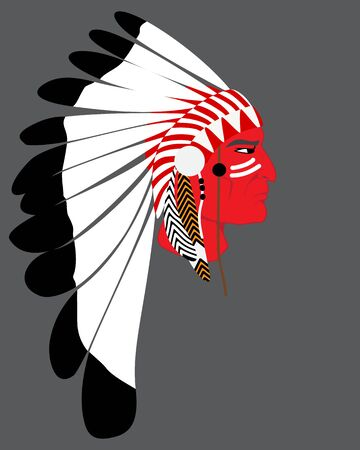 Man Native American Indian chief. silhouette of an Injun chief in a national feather headdress  Native American tribal chiefs. Illustration