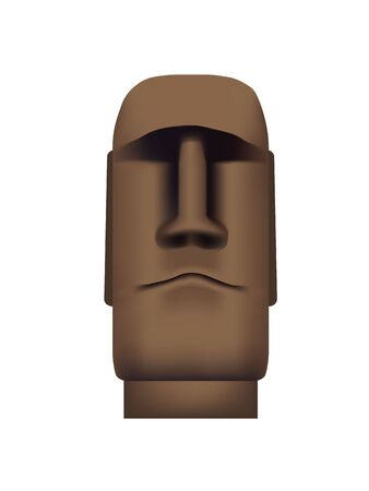 The statue of Easter Island in the front. Idol of Easter Island with a stupid smile Illustration