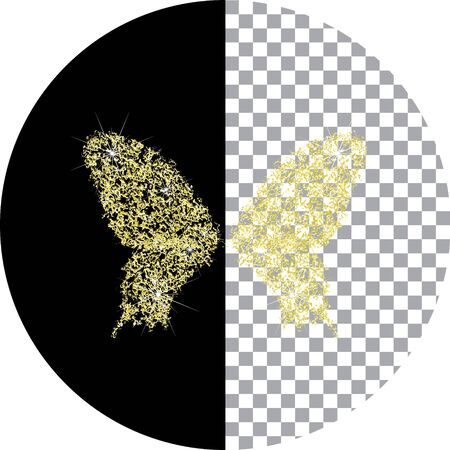 Brilliant butterfly icon. The effect of a diamond. Transparent goldy jeweler icon. Wildlife is an insect.