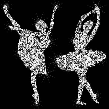Een reeks glanzende fonkelende ballerinpictogrammen. Silhouetten van sieraden dansende ballerina's. Briljant pictogram. Het effect van een diamant. Transparant zilverachtig juwelierpictogram.