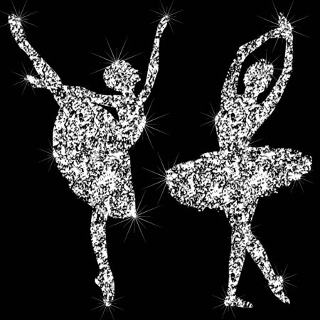 A set of shiny sparkling ballerin icons. Silhouettes of jewelry dancing ballerinas. Brilliant icon. The effect of a diamond. Transparent silvery jeweler icon. Vectores