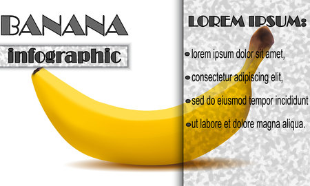 Blank infographics about the banana.Gray-black grains selection and blackout on white background.