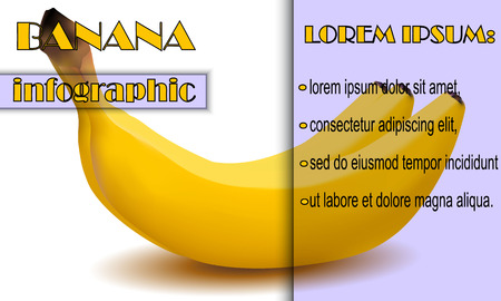 Blank infographics about the banana.Gray-black simple selection and blackout on white background. Çizim