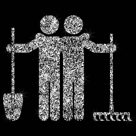 World Labor Day. 1st of May. Icons of working people. People with a shovel and rake.  Effect of diamond. Transparent silver jewelry sign.