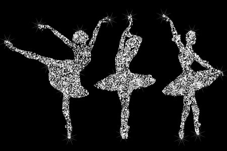A set of shiny sparkling ballerin icons. Silhouettes of jewelry dancing ballerinas. Brilliant icon. The effect of a diamond. Transparent silvery jeweler icon. Sparkling icon.