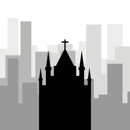 Religion in the city. Black icon of the Catholic church against the background of city skyscrapers