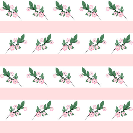 French model of textile drawing millefler. Scattering of small branches with pink flowers on a background with pale pink and white stripes