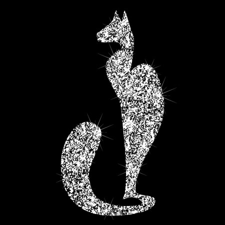 Brilliant transparent silvery icon cat with a diamond effect. Silhouettes of  jewelry cat.
