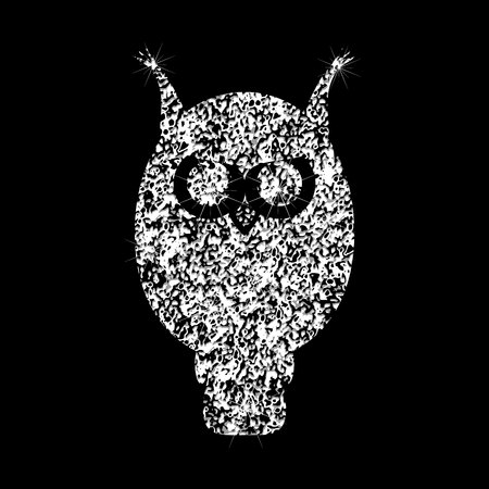 Brilliant transparent silvery icon owl with a diamond effect. Silhouettes of  jewelry owl.