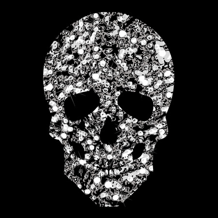Brilliant transparent silvery icon skull. Silhouette of  jewelry skull. Illustration
