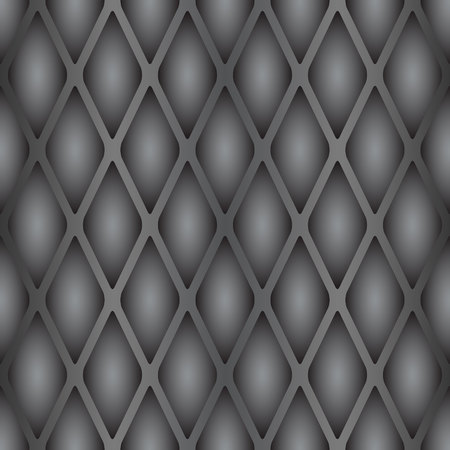 A sample of a seamless texture of a reptiles skin. Convex scales in gray tones with vertical stripes.