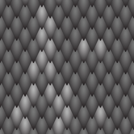 Seamless textured black scales of a snake, fish, dragon or other animal. A sample with a light pattern of scales on  background of black scales