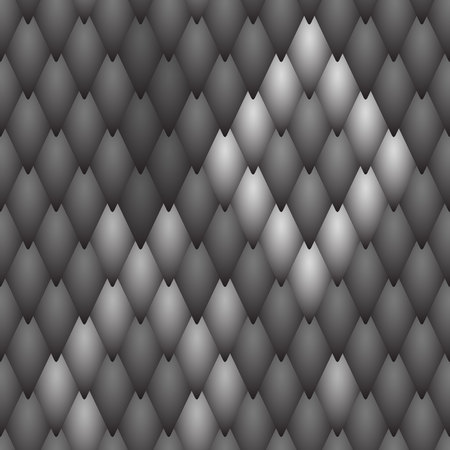 Seamless textured black scales of a snake, fish, dragon or other animal. A sample with a light and dark pattern of scales on  background of black scales