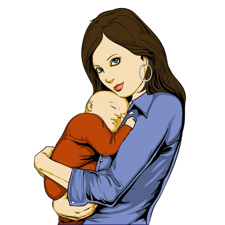 Youg woman holding baby in her arms Stock Vector - 9131416