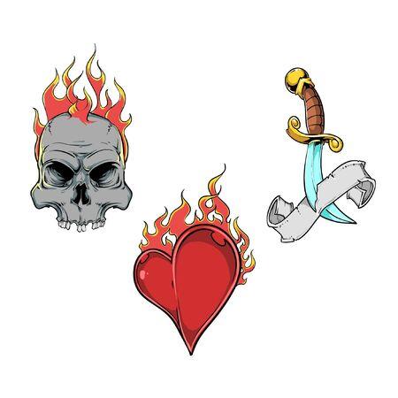 flaming heart: tattoo elements