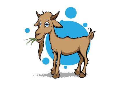 little goat eating weed Stock Vector - 9528750