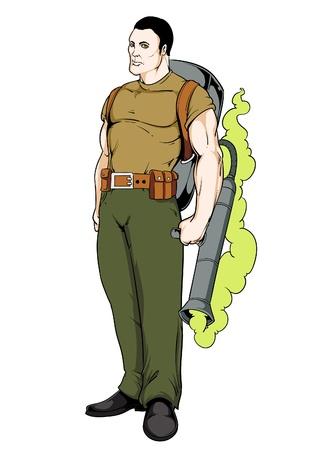 gas man: Man with gas maschine Illustration