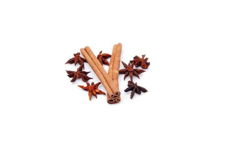 two cinnamon stick with many anise star Stock Photo