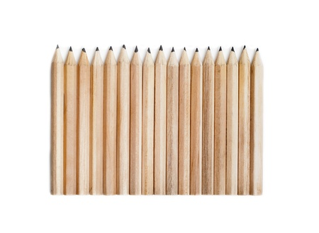 many isolated wood pencils in a row