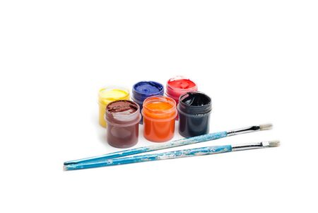 gouache with two brushes and six colours of paint Stock Photo - 13616248