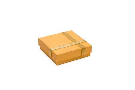 isolated yellow gift box with gold ribbon