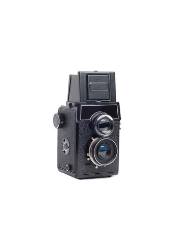 isolated retro photocamera with two lenses and viewfinder Stock Photo