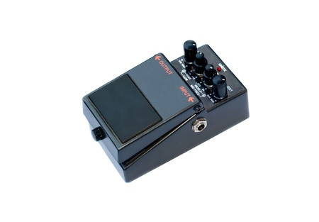isolated analog distortion rock guitar pedal black photo